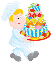 confectioner carrying a decorated holiday cake