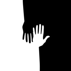 Black and white hands