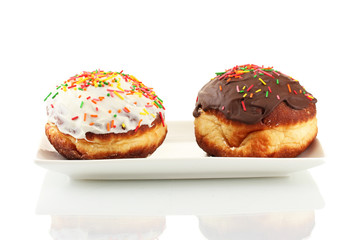Tasty donuts isolated on white