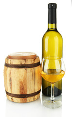 white wine with wooden barrel isolated on white