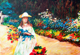 Fototapeta Oil Painting: Woman in the Garden