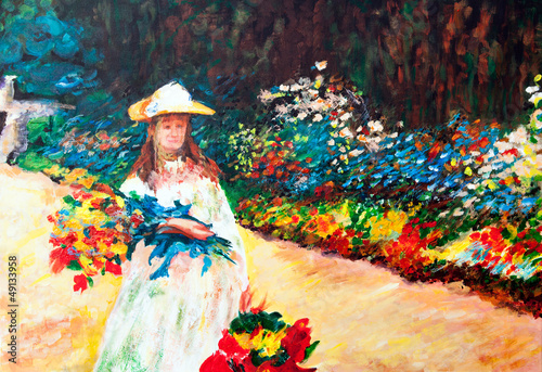 Oil Painting: Woman in the Garden
