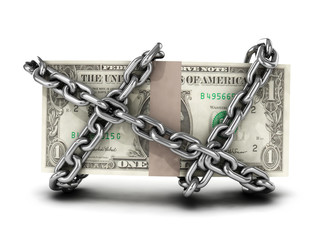 Chained dollars front view