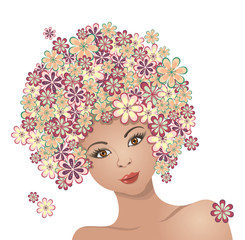 The girl with hair of flowers
