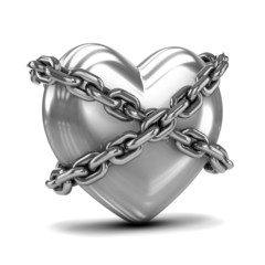 Chained silver heart