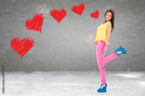 excited young woman being in love