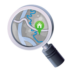 Vector magnifying glass with map concept