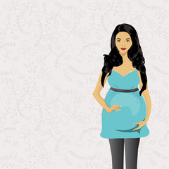 Pregnant woman isolated on white background. Vector