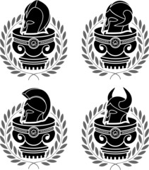 set of medieval helmets. stencils