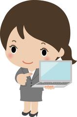 ノートパソコンを持ったスーツの女性
