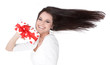 Valentinstag - Frau mit Geschenk/roten Herzen und wehendem Haar