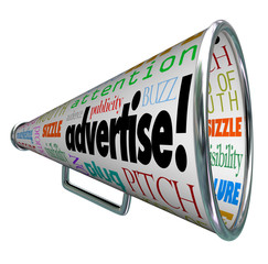 Advertise Bullhorn Megaphone Words of Marketing