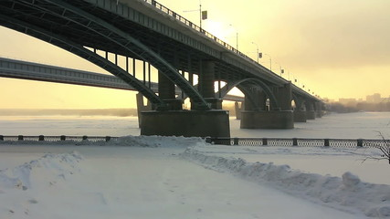Communal bridge across the Ob River, Novosibirsk, Russia