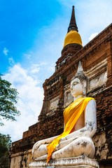 Ancient Buddha at Wat Yai Chai Mongkol in Ayutthaya, Thailand