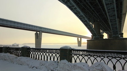 Bottom View at Two bridges in winter, Novosibirsk, Russia