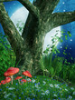 Stare drzewo na łące z kwiatami i grzybami