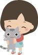 猫を抱いた小さい女の子