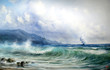 Fototapeten,seelandschaft,surfen,malerei,segelboot