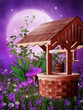 Drewniana studnia na fioletowej łące