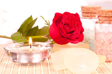 Romantic spa with rose and candle close up