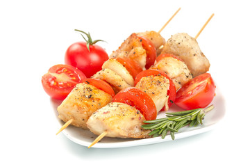 Chicken pieces grilled on skewers