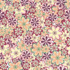 Leaves and flowers seamless pattern