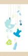 Boy Hanging Baby Symbols Dots Border