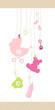 Girl Hanging Baby Symbols Dots Border