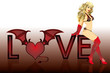 Love devil girl, vector illustration