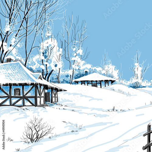 Winter snowy landscape vector illustration
