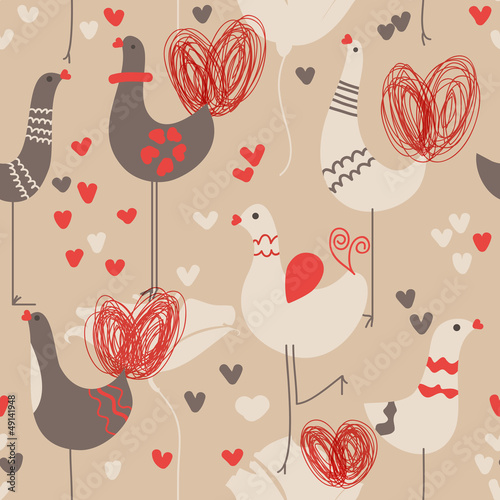 Cute love birds seamless pattern