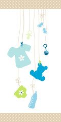 Boy Hanging Baby Symbols Shirt Dots Border
