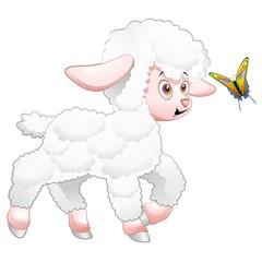 Easter Lamb Cartoon and Butterfly-Agnello di Pasqua e Farfalla