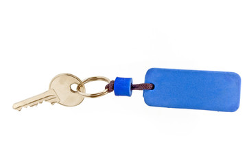 House key with blue tag