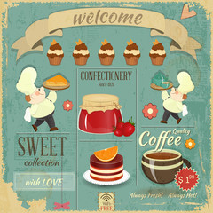 Sweet Cafe Menu Retro Design