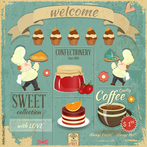 Fridge magnet Sweet Cafe Menu Retro Design