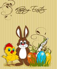 Ostern, Karte mit Hase und Küken