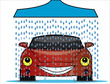 Illustration of a car wash with a bright red happy car