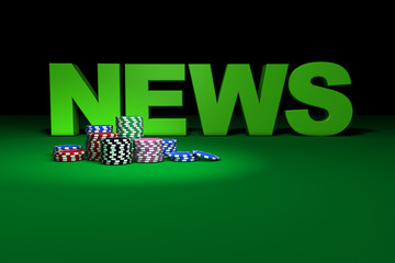 Casino Chips And News Sign