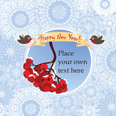 Christmas and New Year greeting card with ribbon, robin, berry