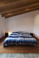 modern loft, bedroom, wooden floor