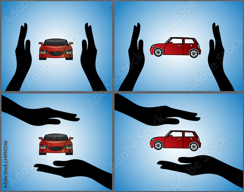 Illustrations of a Car Insurance using Hand Silhouette & red Car