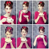 Photo collage - redhead girl with coffee cup. St. Valentine Day