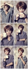 Collage of photos with style girl in shirt with cup at studio.