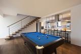 modern loft, room with billiard