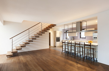 modern loft, view of the kitchen and stairs