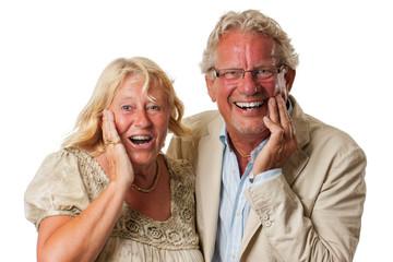 Happy surprised mature couple