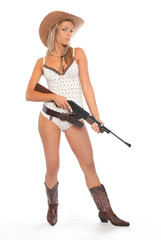 Attractive american woman with semiautomatic riffle.