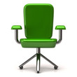 Green stylized office chair, 3d