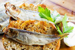Fish, Spanish tapas - sprats on baked bread